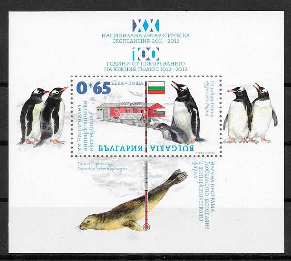 colección sellos fauna Bulgaria 2012