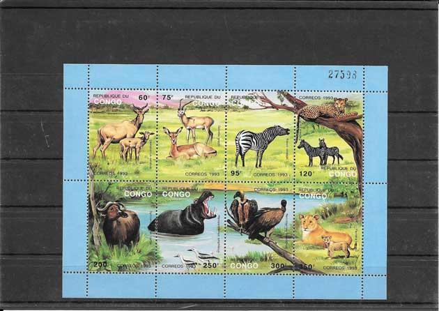 Colección sellos hojita bloc fauna - protección a la naturaleza Congo
