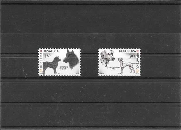 Sellos filatelia serie del 2001 fauna- perros Croacia