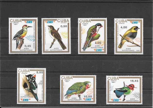 Filatelia sellos serie diversidad de aves Cuba