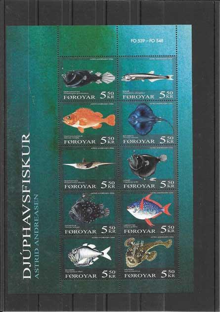 Colección sellos hojita de fauna peces