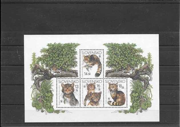 Sellos filatelia fauna hojita wwf de 4 sellos