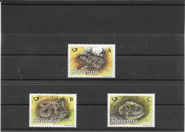 Filatelia sellos fauna reptiles Eslovenia