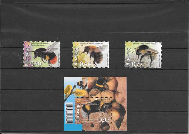Filatelia sellos serie y hojita fauna abejas