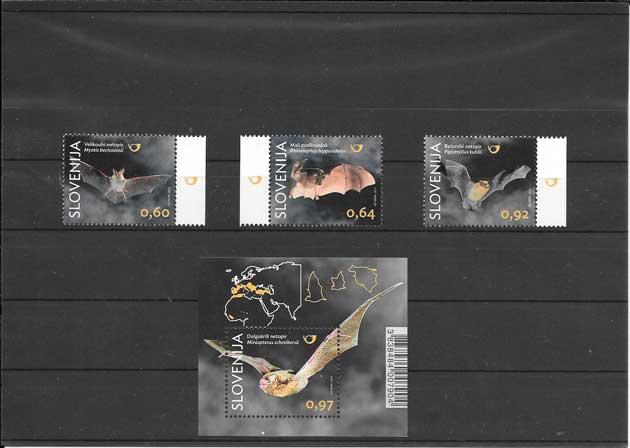Filatelia sellos serie y hojita bloc de murciélagos