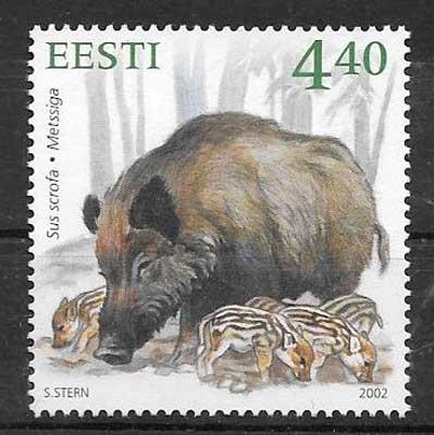colección sellos fauna Estonia 2002 - 2012