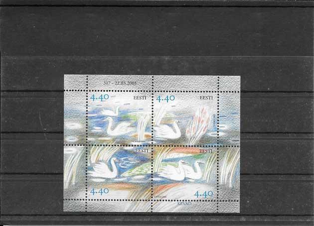 Colección sellos hojita bloc fauna cisne Estonia