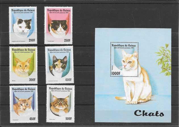 Filatelia sellos serie y hojita de gatos