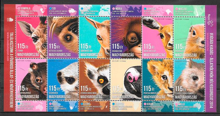 filatelia colección fauna Hungría 2014