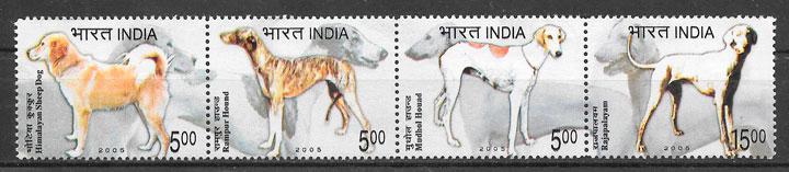 filatelia colección perros India 2005