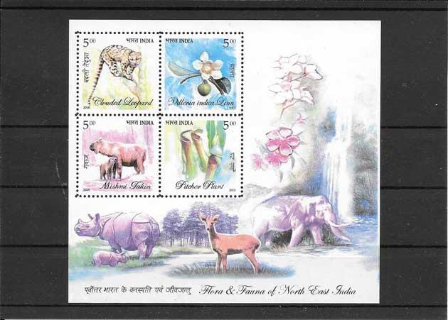 Filatelia sellos fauna y flora de la India