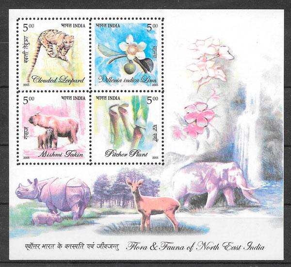 filatelia colección fauna y flora India 2005
