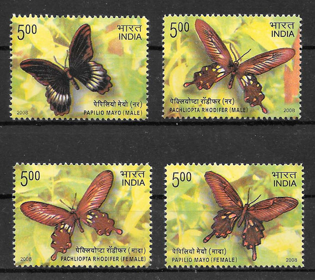 filatelia colección mariposas India 2008