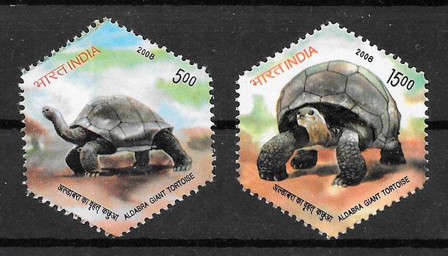 filatelia colección fauna India 2008