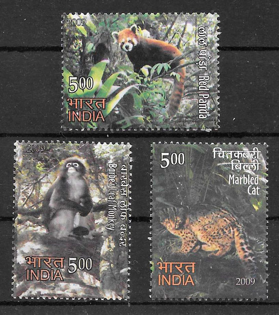 colección sellos fauna India 2009