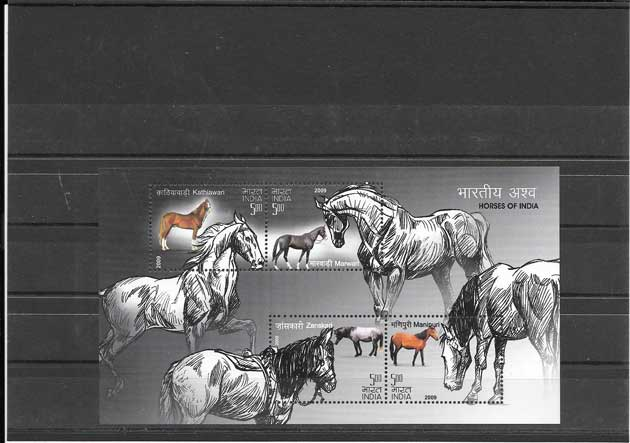 Colección sellos fauna - caballos de la India.