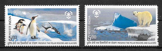 filatelia colección fauna India 2009