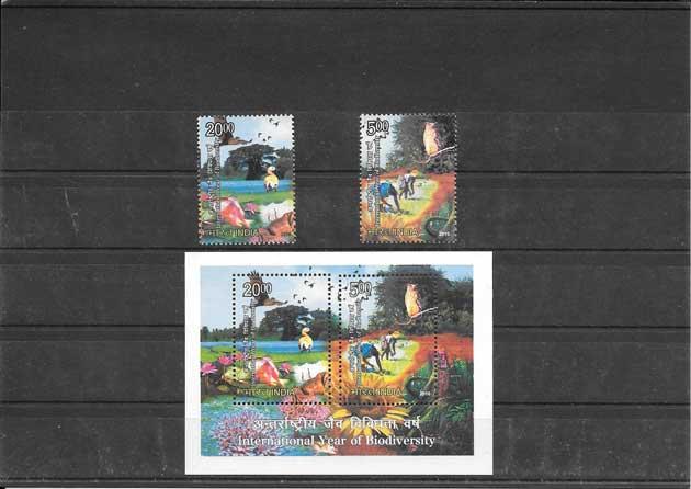 Filatelia sellos año internacional de la biodiversidad