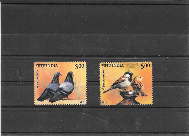 Sellos fauna - aves- palomas y gorrión