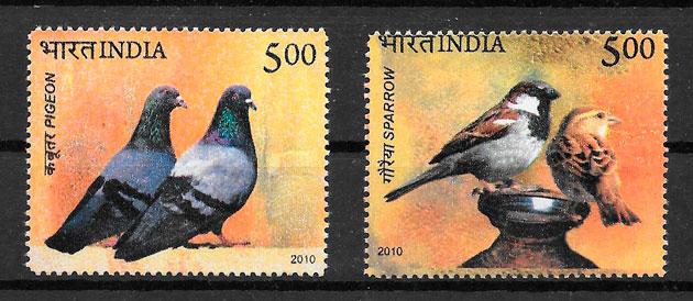 filatelia colección fauna India 2010