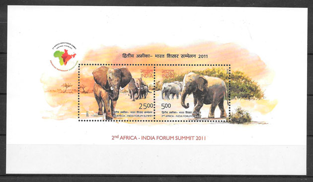 colección sellos fauna India 2011