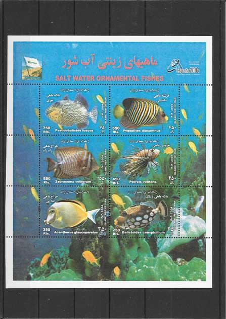 Colección sellos fauna hojita bloc de peces
