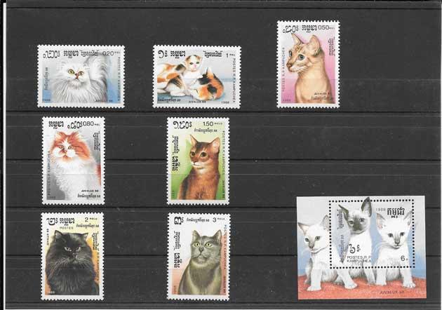 Sellos gatos Kampuchea-1988-01