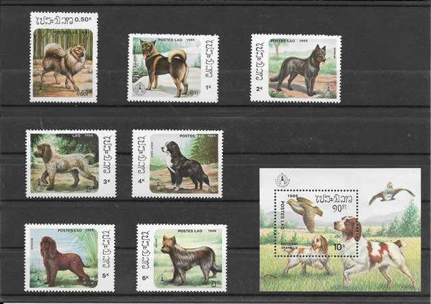 Filatelia sellos serie y hojita de perros Laos