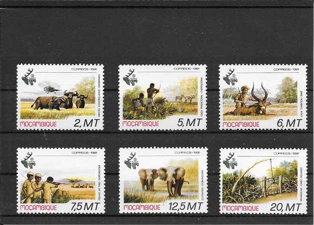 Colección sellos serie de fauna - caza Monzambique