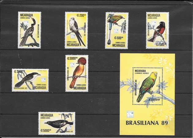 Sellos serie y hojita de aves Nicaragua