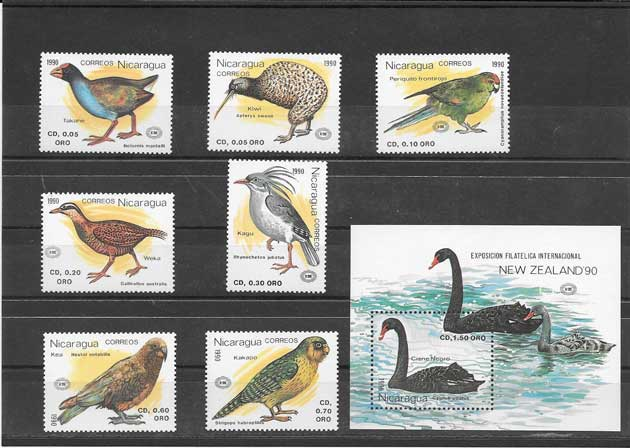 Colección sellos serie más hojita de aves