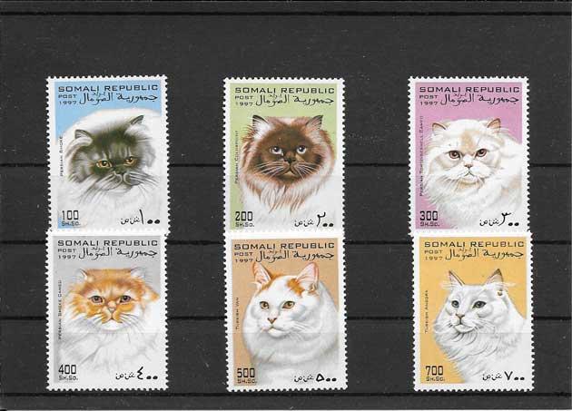 Colección sellos fauna - gatos Somalia-1997-02