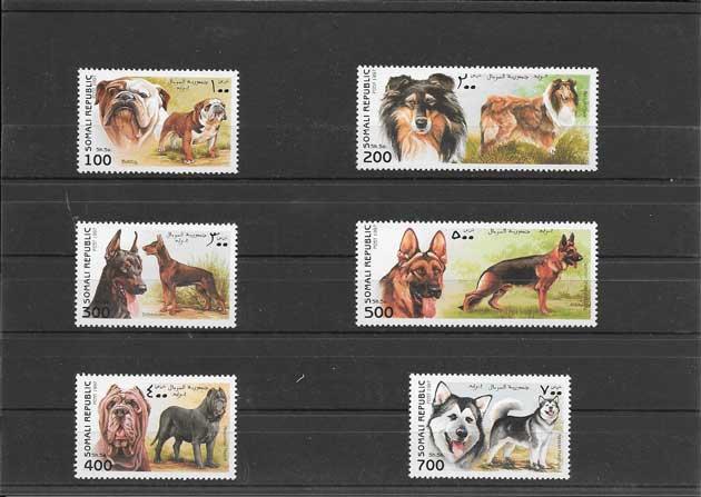 Colección sellos fauna -serie y hojita fauna - perros