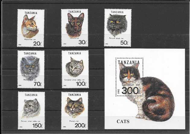 Estampillas fauna gatos Tanzania-1992-01