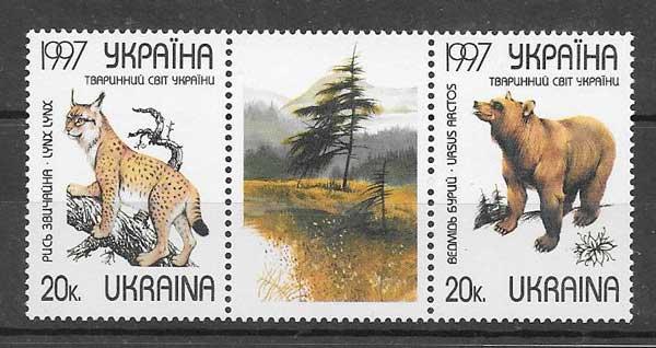 Sellos fauna salvaje Ucrania 1997