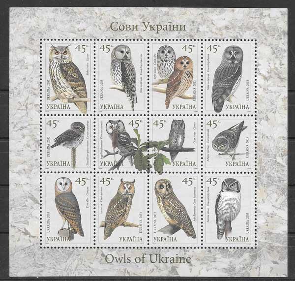 Sellos filatelia fauna aves rapaces 2003