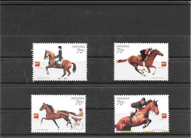 Estampillas fauna serie de caballos deporte