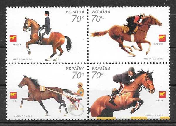 Estampillas fauna caballos diversos
