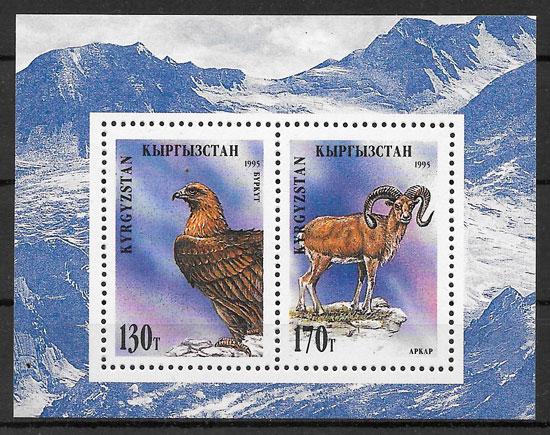 filatelia fauna Kirgikistan 1995
