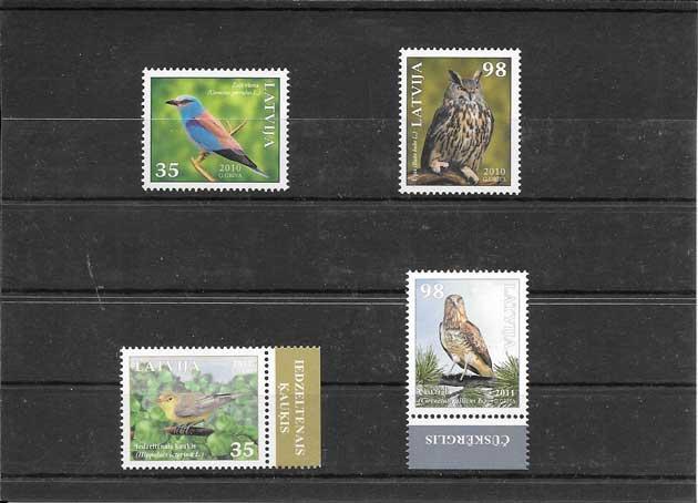 Sellos tema fauna aves del país