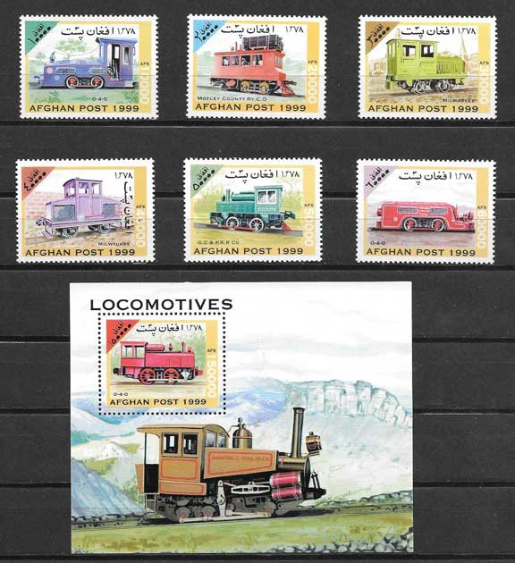 Colección sellos transporte ferroviario de Afganistán