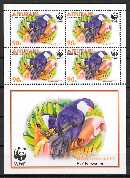 filatelia wwf Aitutaki 2002