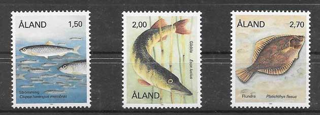 Estampillas fauna peces Aland 1990