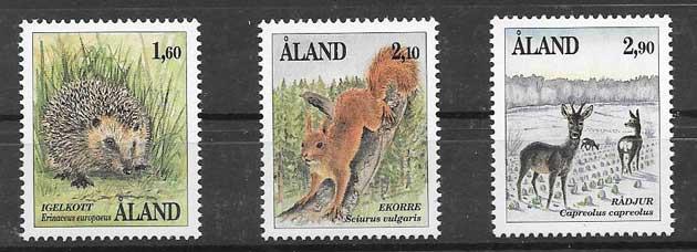 Estampillas fauna mamífera Aland 1991