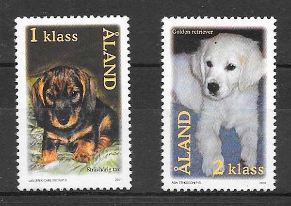 filatelia gatos y perros Aland 2001