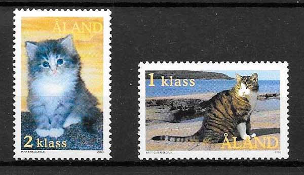 filatelia gatos y perros Aland 2003