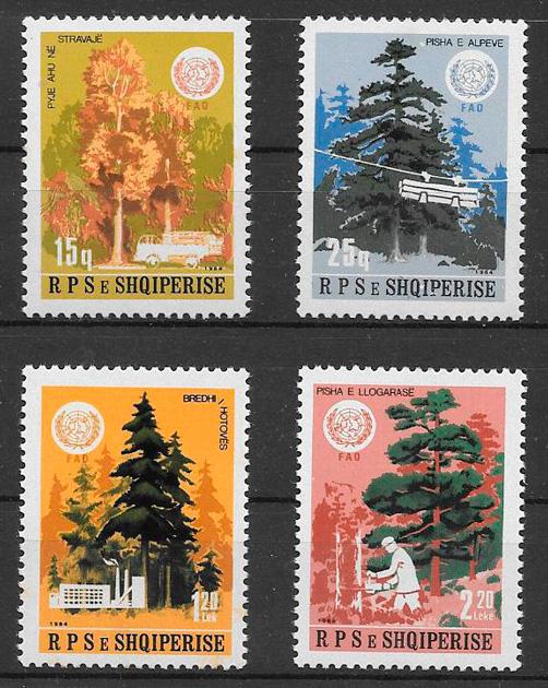 sellos flora Albania 1984