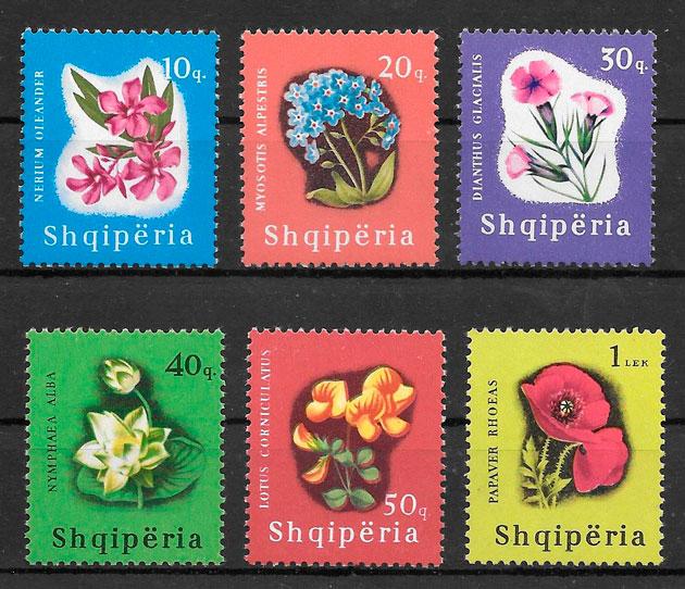 filatelia flora Albania 1965