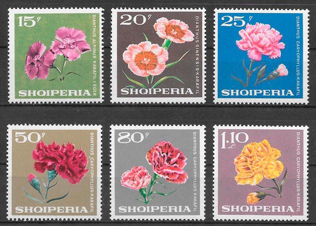 colección sellos flora Albania 1968