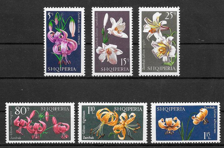 sellos flora Albania 1970